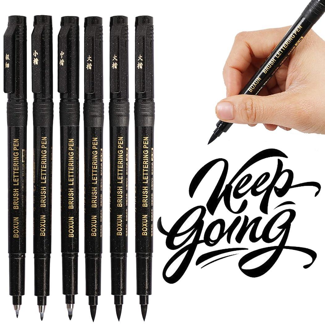 Modern Art Hand Lettering Marker Pens, Refillable - 4 Sizes (6/Pack), Black Calligraphy Pen for Beginners Writing, Art Drawings, Practice, Illustrations
