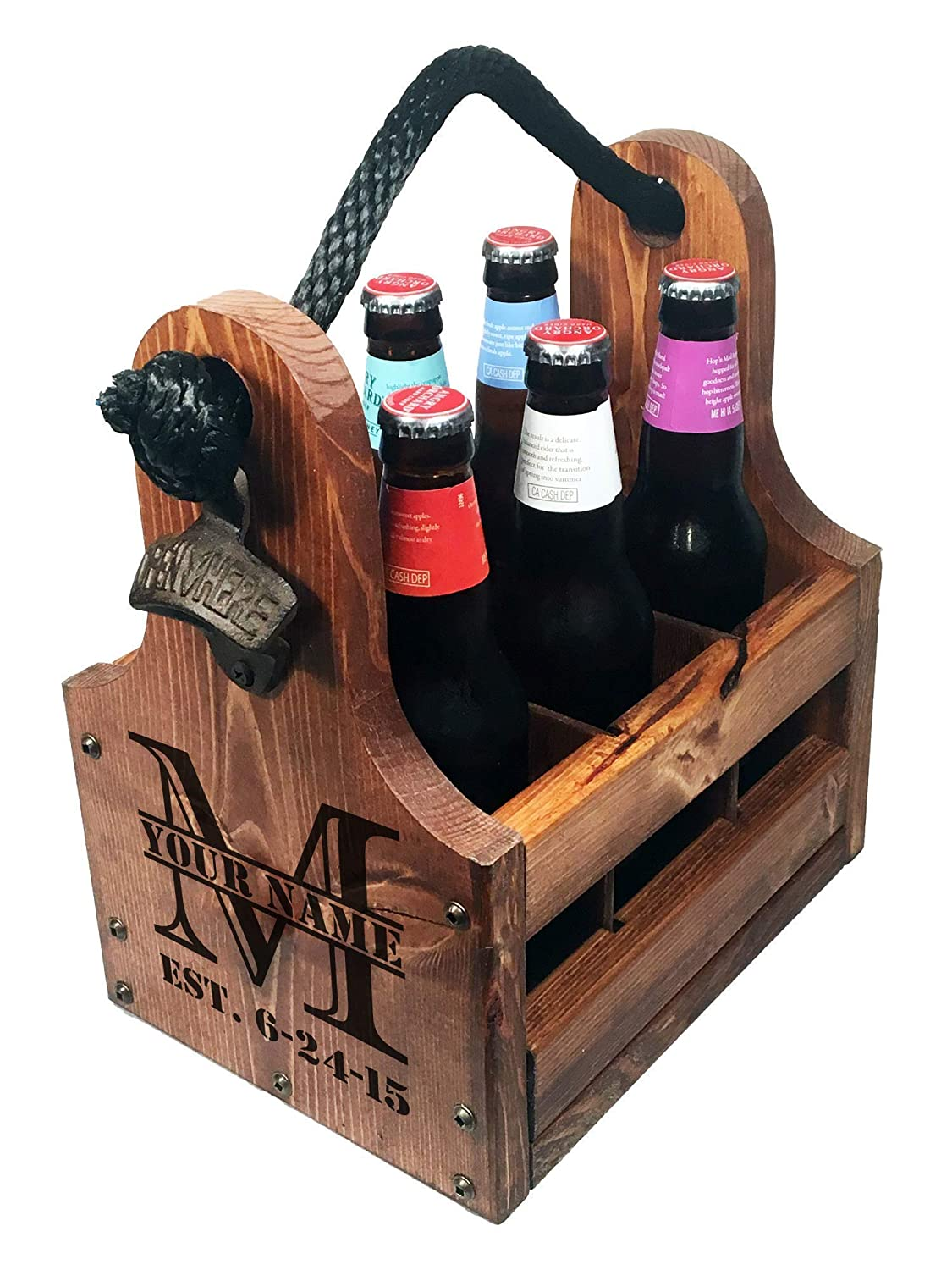 Personalized Wood Beer Caddy with Bottle Limited price sale Directly managed store Magnetic Opener and Bot