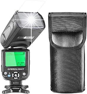 Neewer i-TTLスピードライトフラッシュ LCDディスプレイ、ハードディフューザー、保護バッグ付き Nikon DSLR カメラ D7200 D7100 D7000 D5500 D5300 D5200 D5100 D3300 D3200 D3100 D500 D60 D50(NW-562)に対応