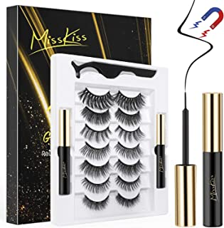 Magnetic Eyelashes with Eyeliner, 7 Pairs Reusable Magnetic Lashes, Magnetic Eyeliner and Lash kit with Tweezers for Daily...