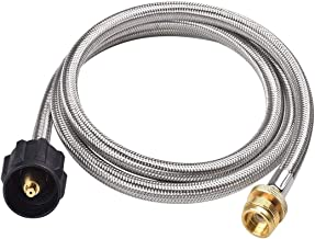 GASLAND Propane Hose, 5ft Stainless Steel Propane Hose, 1lb to 20lb Propane Tank Adapter Hose, CSA Certified 1lb Propane Tank Adapter, Fittings for QCC1/Type 1 Tank Connector to 1 LB Camp Stove