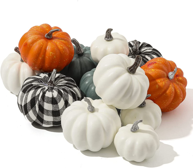 12 PCS Pumpkins Decor, White Blue Orange Fall Artificial Rustic Pumpkins Decor, Fall Decor Halloween Thanksgiving Decorating Harvest Embellishing and Displaying