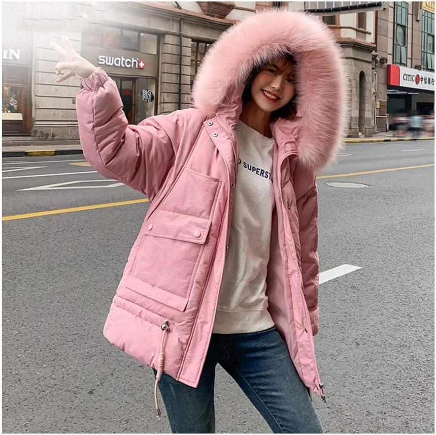 Faux Fur Long Parkas Down Cotton Jacket Women Thicken Outerwear Hooded Coat Women Jacket Female Pink M