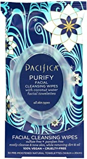 Pacifica Purify Cleansing Wipes, Coconut Water, 240Count