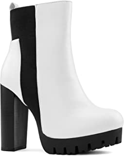 RF ROOM OF FASHION Women's Lug Sole Platform Light Weight Stacked Heel Ankle Boots