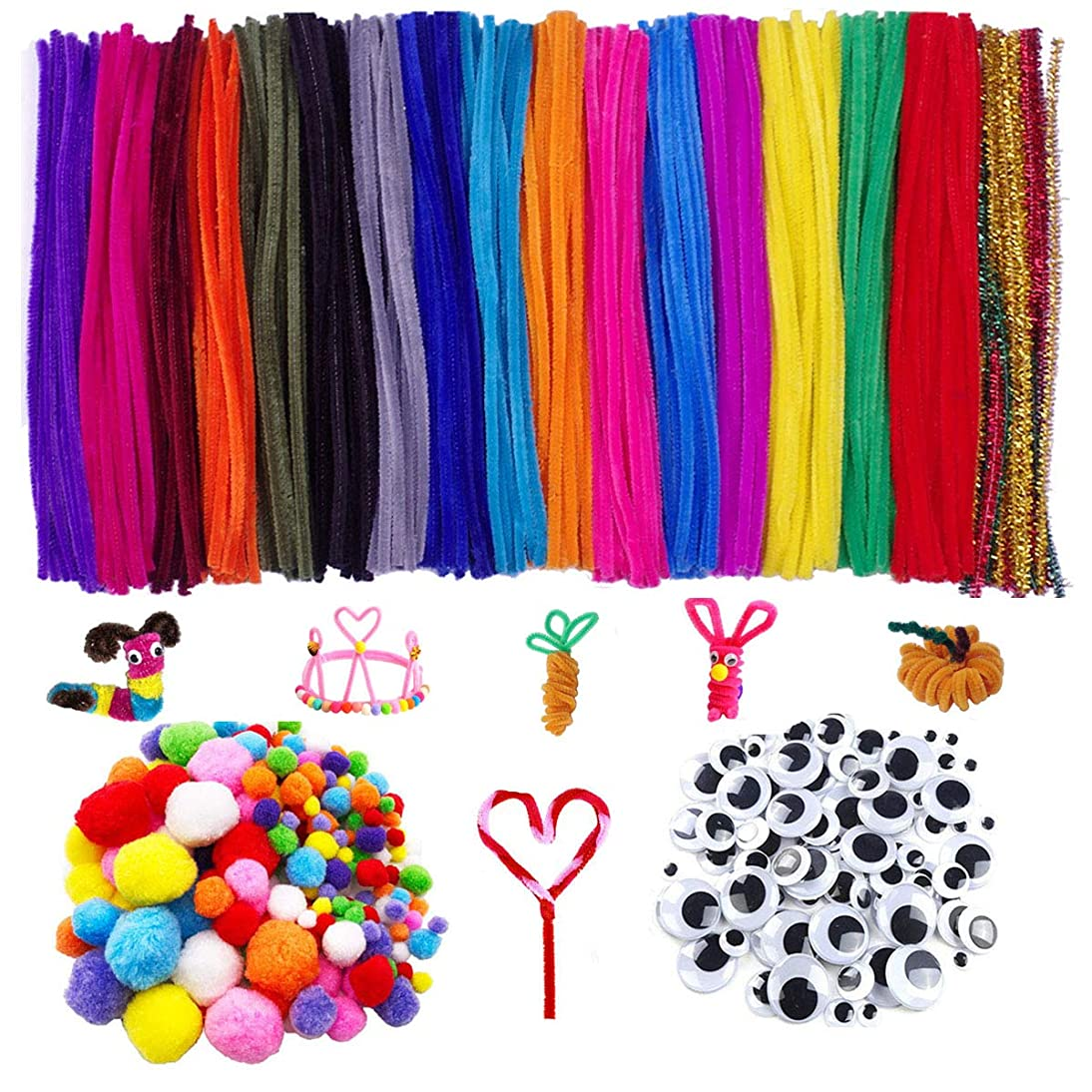 Bright Silver Pipe Cleaners, 700 Pcs Craft Supplies Set-200 Pcs Chenille Stems Set 200 Pcs Pom Poms Craft, 300 Pcs Wiggle Googly Eyes Self Adhesive Assorted Sizes for DIY Art Craft