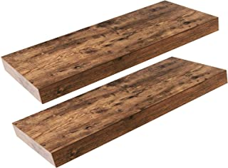 HOOBRO Floating Shelves, Rustic Wooden Wall ShelfSet of 2, 23.6 inch Hanging Shelves with Invisible Brackets, for Bathroo...