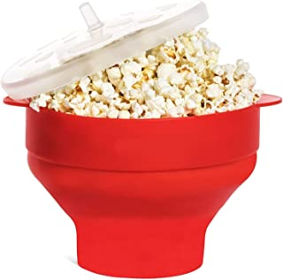 Microwave Popcorn Popper Collapsible Popcorn Maker Bowl Silicone Hot Air Pop Corn Bowl with Lid and Convenient Handles Gif...