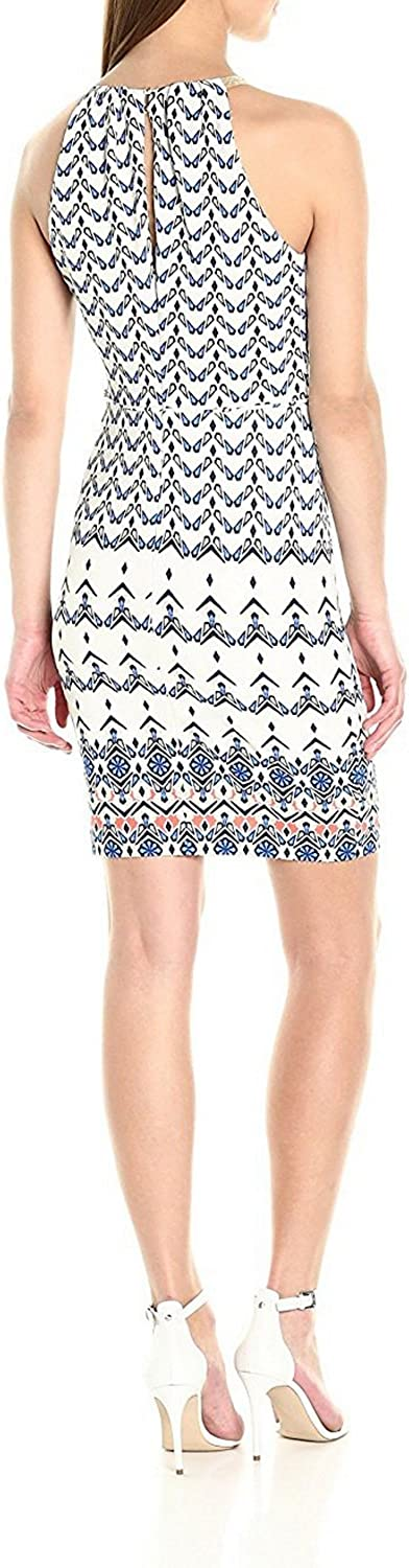 True Meaning Elegant Women's Printed Dress with Halter Neck Chain