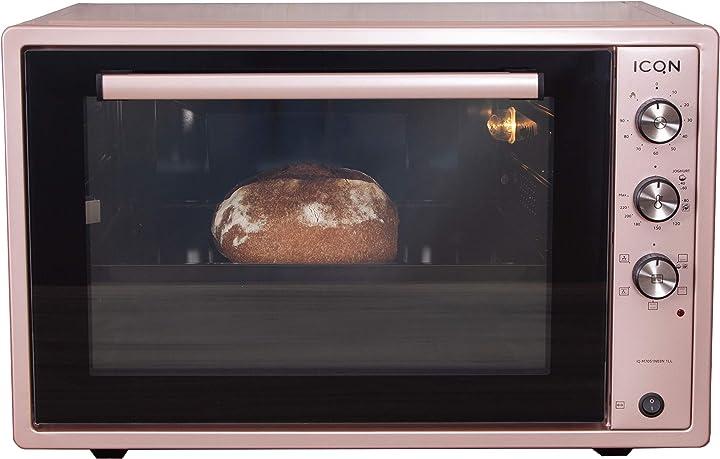 icqn, mini forno xxl, spiedo girevole,  ventilato, forno per pizza, temperatura da 40° fino a 230° iq m7051n03n 1ll
