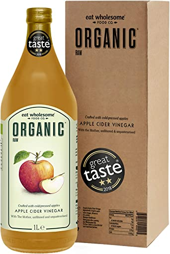 Eat Wholesome Organic Raw Apple Cider Vinegar Unfiltered with The Mother, 1L