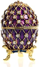 YU FENG Faberge Egg Shaped Trinket Box Hinged Jewelry Ring Holder Collectible Figurine Boxes w/Crystals (purple)