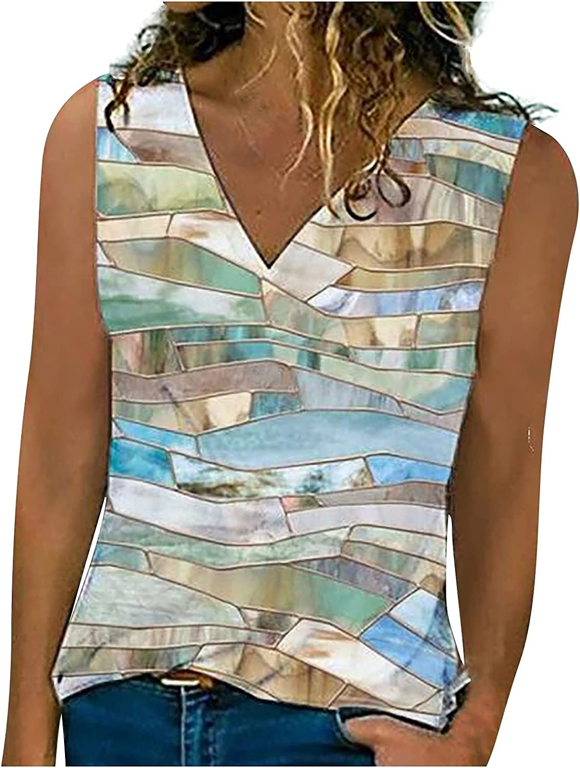 Ladies Fashion Loose V-Neck T-Shirt Small Vest Printed Sleeveless Casual Top