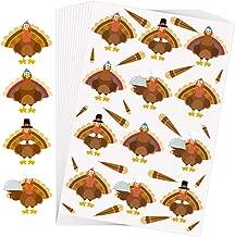 Aneco 288 Pieces Thanksgiving Turkey Stickers Thanksgiving Party Decoration Turkey Shape Stickers Assortment Turkey Design