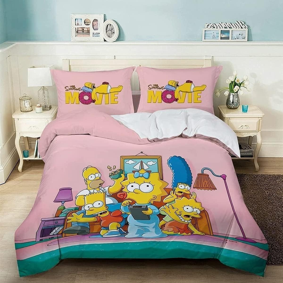 KMTSYD Juego de ropa de cama Simpson Simpson, funda de edredón de dibujos animados, funda de cama infantil, fácil cuidado (2,135 x 200 cm + 80 x 80 cm x 2)