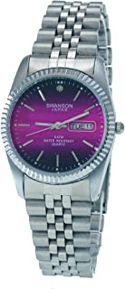 Swanson Japan Men's Silver Day-Date Pink Vignette Index Dial Watch with Travel Case