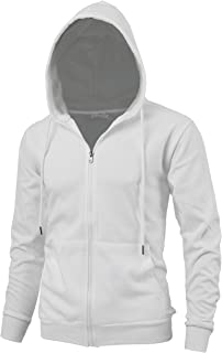 """DELight"""" Men's Fashion Fit Full-Zip Hoodie with Inner Cell Phone Pocket (US XX-Large, Ivory)"""
