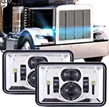 1 Pair 4x6 Inch LED Headlights 60W High Low Beam Rectangle Replacement H4651 H4652 H4656 H4666 H6545 Projector Lens for Peterbil Kenworth Freightinger Ford Probe Chevrolet Oldsmobile Cutlass - Chrome