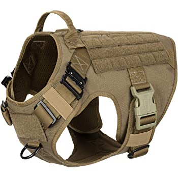 ICEFANG Tactical Dog Harness with 2X Metal Buckle,Working Dog MOLLE Vest with Handle,No Pulling Front Leash Clip,Hook and Loop for Dog Patch