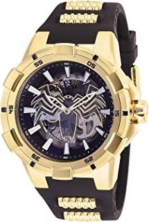 Men's Marvel Stainless Steel Automatic-self-Wind Watch with Silicone Strap, Black, 30 (Model: 28979)