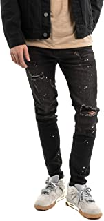 Mason & Co. Men's Ripped Skinny Jean Distressed Stretch Skinny Black Pants