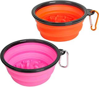 Outdoor Collapsible Dog Cat Slow Feeder Bowl,Portable Silicone Dish Food Water Feeding Travel Cup, Stop Bloat for Pets Health