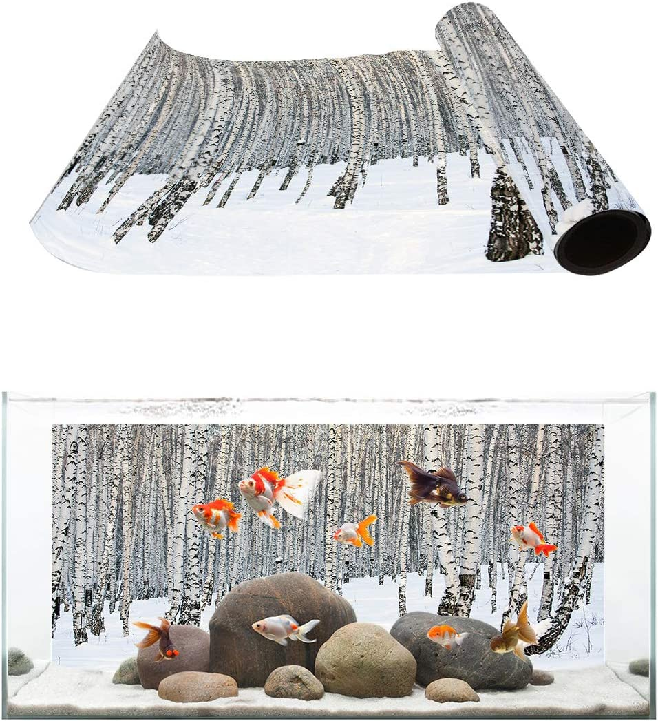 TH XHome Aquarium Décor San Jose Mall Choice Backgrounds Winter Snowy Trees Natur on