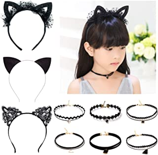 Elesa Miracle 9pcs Little Girl Black Cat Ear Hair Hoop and Lace Choker Necklace Vintage Kids Gothic Tattoo Lolita Lace Choker Value Set