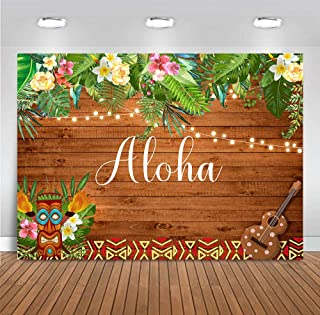 MMY 7x5ft Summer Aloha Luau Party Photography Backdrop Hawaii Tropical Flowers Wooden Sculpture Background Cake Table Birthday Party Banner Supplies Photo Booth Props