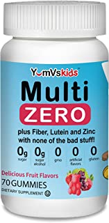Multi Zero Multivitamin Gummies for Kids by YumVs | Sugar Free Supplement | Vitamin C, A, D3, E, B6, Biotin, Folate, Fiber...