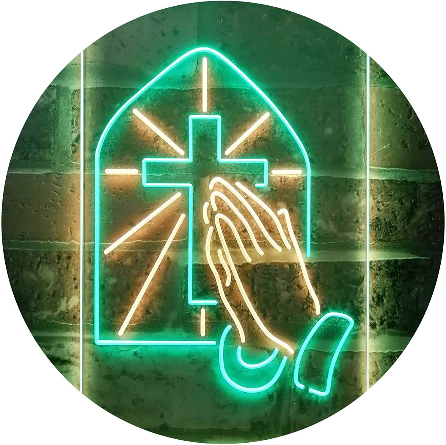 Max 78% OFF ADVPRO Crosses with Praying Hands Room Display LED favorite Ne Color Dual