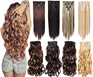 7Pcs 16 Clips 20-24 Inch Thick Double Weft Full Head Clip in Hair Extensions Curly Straight Wavy Hairpiece 8 colors (24