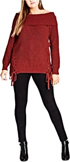 City Chic Womens Plus Off-The-Shoulder Lace-Up Pullover Sweater
