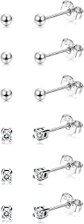 Sllaiss 6 Pairs Sterling Silver Tiny Ball Stud Earrings for Women Girls Round CZ Earrings Set