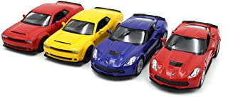 Just For Laughs Performance Car 4 Pack, Diecast Dodge Challenger Demon(Red+Yellow) Chevy Corvette C7(Blue+Red)
