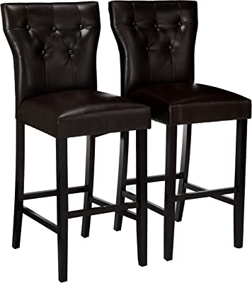 Christopher Knight Home Carlson Brown Bonded Leather Bar Stool (Set of 2), Dark