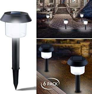 Brightown 6 Pack Outdoor Solar Path Lights, Solar Garden Landscape Lights for Outdoor Yard Pathway Driveway Walkway Sidewalk Patio Lawn, Cool White