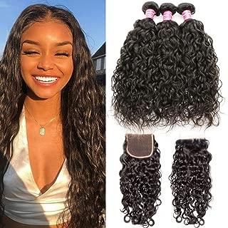 Ali Julia Hair 8A Brazilian Water Wave 3 Bundles with Lace Closure Unprocessed 100% Virgin Human Weave Hair Extensions (14 16 18+12Closure)