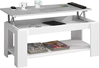Habitdesign 0L1639A - Mesa Centro Ambit con revistero Mesa elevable mesita Mueble Salon Comedor Color Blanco Artik - Gri...