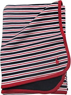 Cotton Jersey Material Blanket Navy Blue Stripe (French Navy Multi)