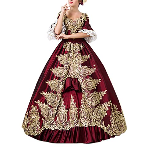 e6fa1c9311b ROLECOS Womens Royal Retro Medieval Renaissance Dresses Lady Satin  Masquerade Dress