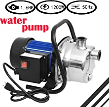 1.6 HP Stainless Steel Shallow Well Pump Portable Garden Irrigation Home Garden Lawn Sprinkler Booster Pump (1.6HP)