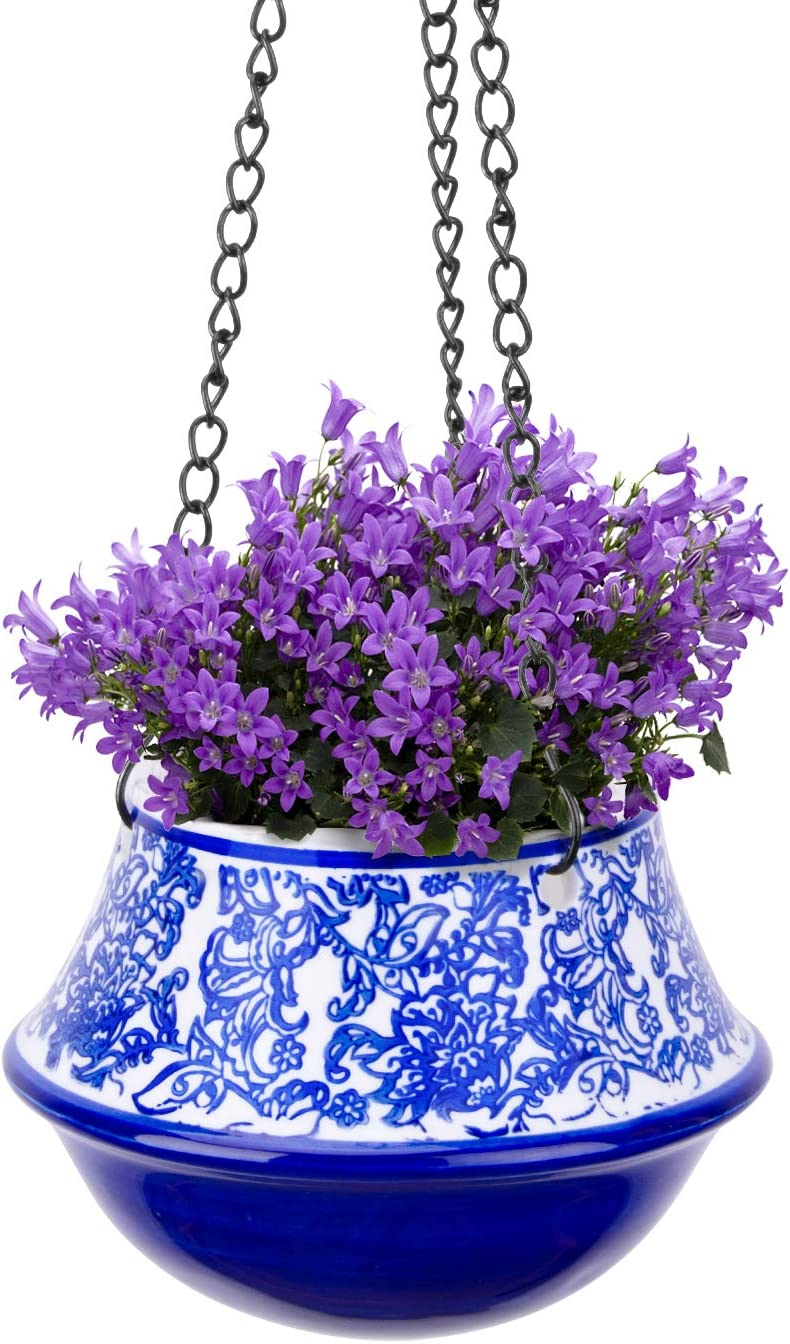 UERMEI Ceramic Max 76% OFF Factory outlet Hanging Planters Indoor - White H Floral and Blue