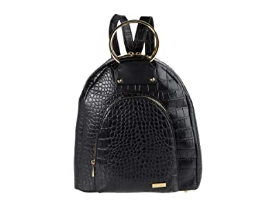 San Diego Hat Company Croc Embossed Smooth PU Leather Top-Handle Bag w/ Zip Closure (Black) Handbags