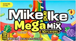 Mike and Ike Mega Mix 10 Flavors Chewy Assorted Fruit Flavored Candy 5-Ounce Theater Box - 12 Boxes
