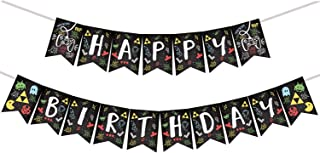 Video Game Party Happy Birthday Banner -Retro Game(Block,Greedy,Little Bee,Shooting Game etc.)Party Decorations -Arcade Game Banner Pecfect for Boy's and Girl's Birthday Party.