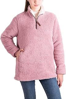 Women's Long Sleeve Quarter Zip Warm Winter Outwear Fuzzy Fleece Sherpa Pullover Jacket Coats with Pockets