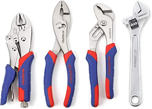 wholesale WORKPRO Pliers Set outlet online sale 4-piece Locking Plier Slip-joint Plier Groove Joint Pliers and Adjustable Wrench Home popular Maintenance Tool Kit outlet sale