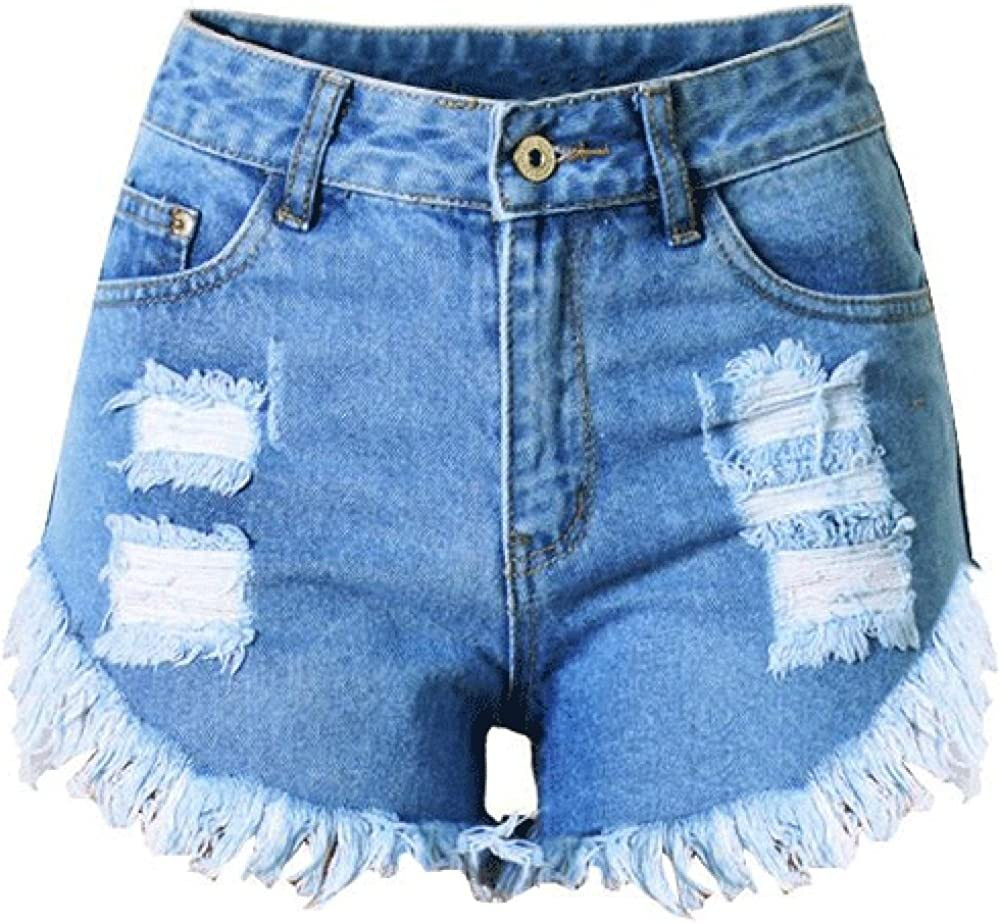 Allonly Women's Sexy Cut Off Ripped High Waisted Slim Fit Denim Shorts Jean Shorts Hot Pants with Broken Holes and Fringe