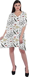 RADANYA Tropical Cotton Caftan Dresses for Women V Neck Short Kaftan Cover Up Summer Dress
